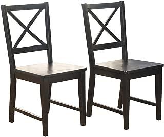 Target Marketing Systems Modern Cross Back Sitting Chair, Set of 2, Black