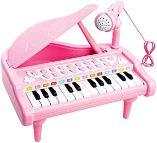 Love&Mini Piano Toy Keyboard for Kids Birthday Gift Pink Music Instruments with Microphone 24 Keys Portable