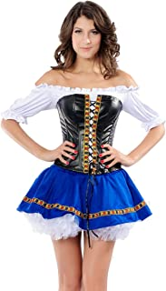 Ladies Sexy German Swedish Beer Maiden Oktoberfest Girl Fancy Dress Outfit Costume (UK 12) Blue