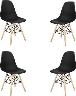 MeillAcc Nordic Leisure Lot de 4 chaises de salle à manger avec dossier en plastique ABS, pieds en bois de hêtre, structur...