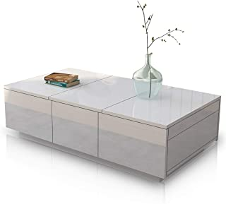 Coffee Table High Gloss Cabinet End Table Slide Top 2 Drawers Storage Wood Living Room Modern Furniture White
