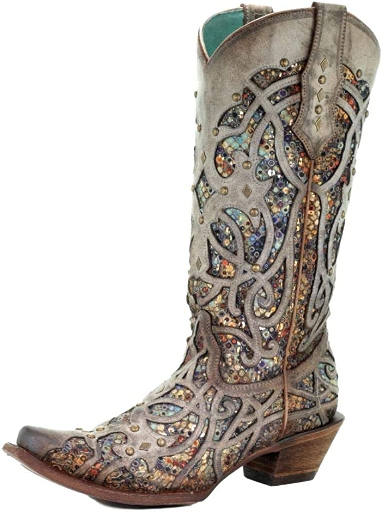 CORRAL Women's Taupe Inlay Western Boot Snip Toe - C3409