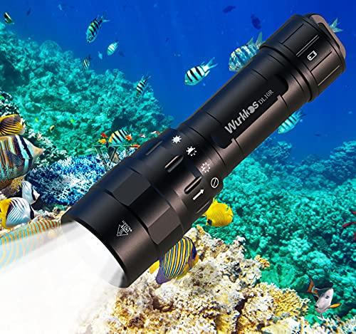 wurkkos DL10R - Linterna de buceo (4500 lúmenes, carga USB C integrada, Cree XHP70.2 LED, IPX8, recargable, luz submarina con batería de 5000 mAh 21700)