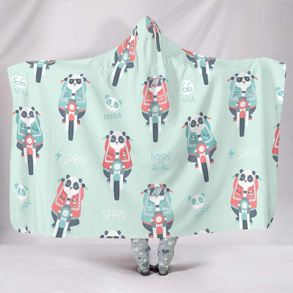 Oakland Mall Rtisandu Hooded Blanket Cool Panda Safety and trust Riding Wearable Motorcycle a