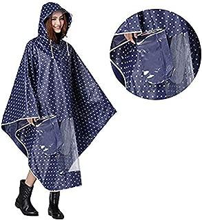 Hombre Mujer Capa de lluvia impermeable Poncho impermeable con capucha Epais ropa abrigo impermeable Raincoat EVA ambiental con espejo diseño de punto para Camping Scooter bicicleta moto marca travailler