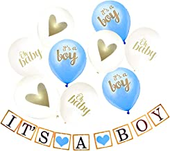 It's A Boy Standard 10 Piece Baby Shower Decorations Set Simple Baby Shower Set Blue and Gold Décor kit Including Balloons and Banner