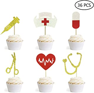 Nursing Cupcake Toppers Nurse Graduation Cupcake Toppers Medical Rn Themed Cake Picks Nursing Cupcake Decorations 36PCS