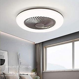 WJJH Techo Ajustable Ventilador con luz LED de iluminación del Viento Velocidad Regulable con Control Remoto 80W Ultra silencioso de Techo Moderna Luz,Marrón