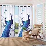 "HGmart Animal Peacock Print Outdoor Curtain Panel for Porch Patio,Privacy Drape Grommets Window Curtain with UV Ray Protected and Waterproof,Easy to Hang On 59""x84"", 1 Panel"