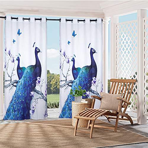 HGmart Vorhang mit Tierpfauenmotiv, für Veranda, Terrasse, Sichtschutz, Ösen, Fenster, mit UV-Strahlschutz, wasserdicht, einfach aufzuhängen, 150 x 213 cm