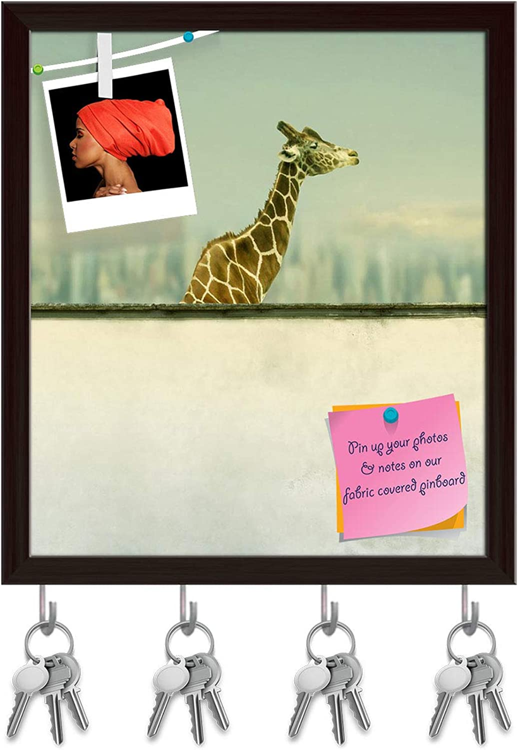 Artzfolio Artistic Giraffe Key Holder Hooks   Notice Pin Board   Dark Brown Frame 16 X 18.3Inch