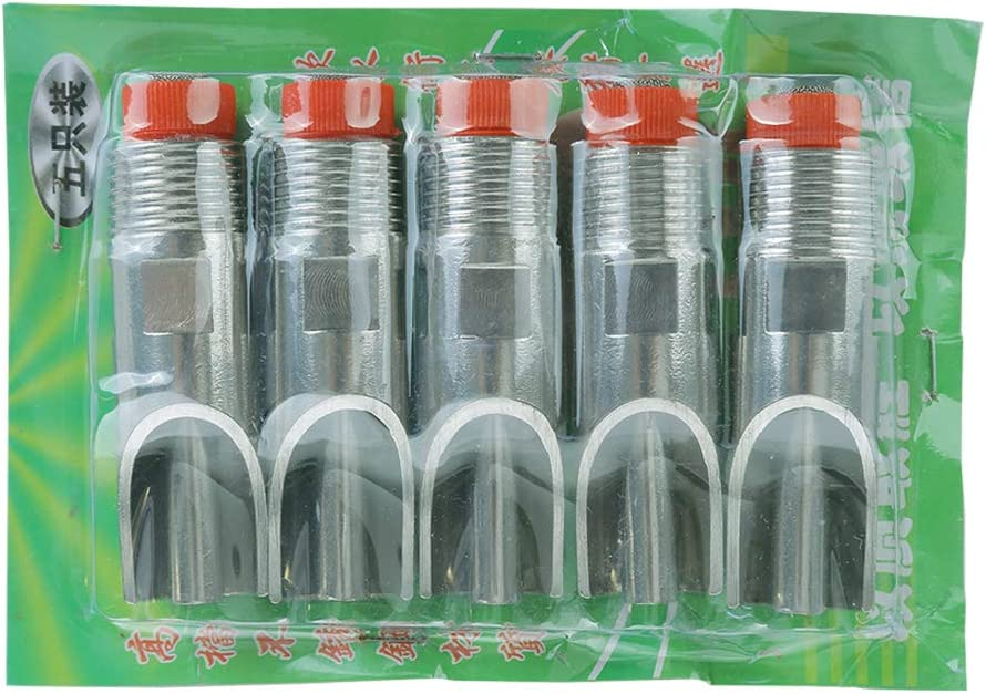 Fengrun Pig Automatic Nipple Drinker 5 Pieces//Lot Stainless Steel Pig Waterer Nipples Thread Size 0.78inch Red Cap Duckbilled Farm Piglets Poultry Waterer