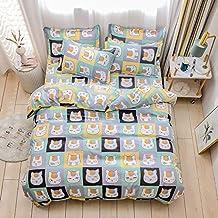 طقم مفارش سرير مزدوج من ORIHOME مطبوع عليه قطط- 3 قطع أغطية سرير أطفال لطيفة مع غطاء لحاف (بدون حشوة لحاف) 2 كيس وسادة - ط...