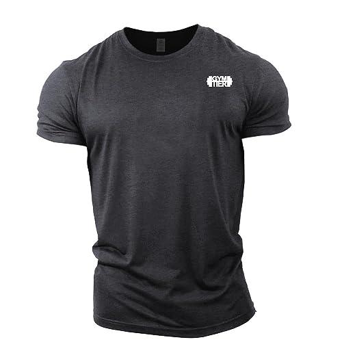 bea33e6ad30 GYMTIER Mens Bodybuilding T-Shirt - Plain Badge - Gym Training Top