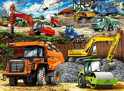Ravensburger 12973 Baufahrzeuge 100-teiliges Puzzle mit extra großen Teilen für Kinder ab 6 Jahren