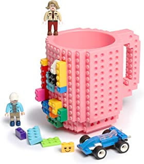 Build-on Brick Coffee Mug, Funny DIY Novelty Cup with Building Blocks Creative Gift for Kids Men Women Xmas Birthday (Pink)