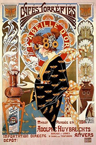 Metallschild, Motiv: Französische Kaffee-Werbung, Cafes, Torrefies, Vintage-Stil, Retro-Stil, 12
