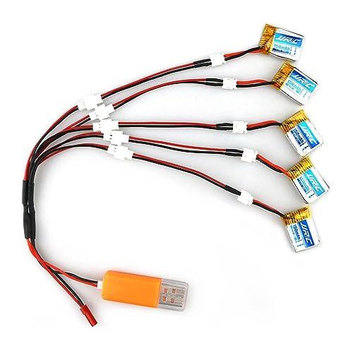 REDPAWZ Li-po Battery + 5 in 1 Mini Drone Battery Set 5pcs 3.7V 150MAH Chargeur USB pour JJRC H36, EACHINE E010, GoolRC