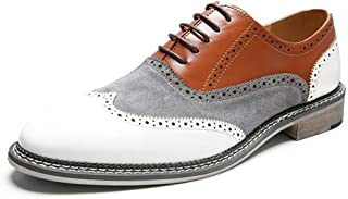 XinQuan Wang Formal Oxfords for Men Business Shoes Lace up Microfiber Leather Pointed Toe Stitched Brogue Carving Burnished Style Patchwork (Color : White, Size : 8.5 UK)