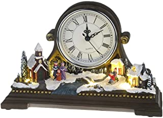 Lightahead Musical Christmas Village Scene with Quartz Clock, LED Light and 8 Melodies