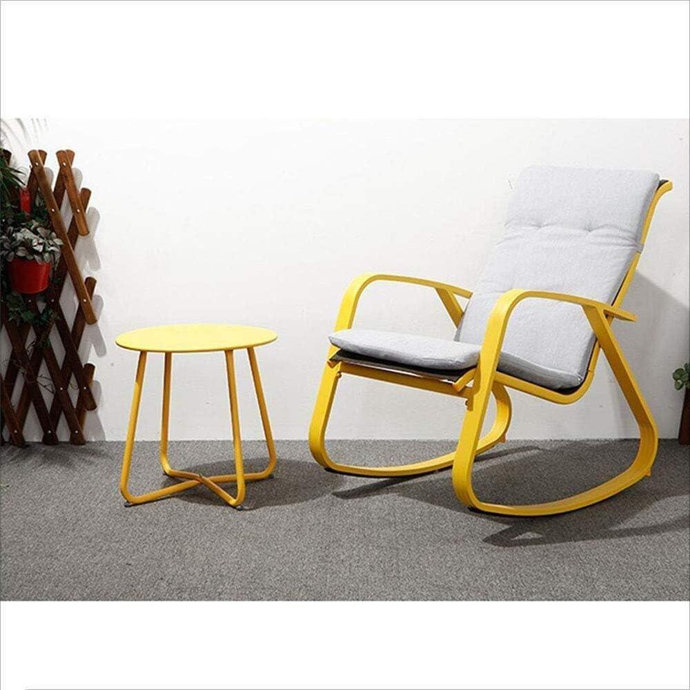 Chaise Longue Alliage d'aluminium Rocking Chair Avec Accoudoirs Moderne Casual Chaise Pour Déjeuner Home Balcon À La Maison Rocking Chair Fauteuil Relax (Color : Blue) Yellow