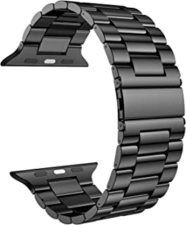 Fitlink Stainless Steel Metal Strap Replacement Link Bracelet Band Compatible with 2019 Apple Watch Series 5 Apple Watch Series 1/2/3/4 38/40mm and 42/44mm(Black-New, 42/44 mm)