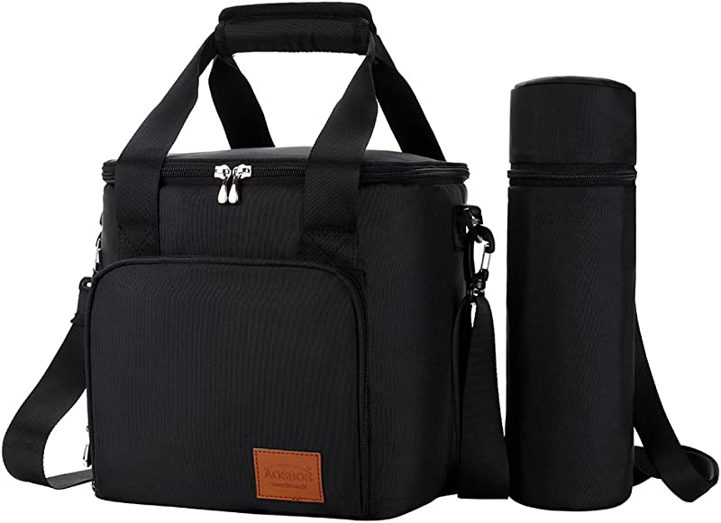 Aosbos Lunch Bag Lunch Box For Adults Men Insulated Thermal Bento Bag For Work Adjustable Strap And Wine Bottle Holder 15L Black