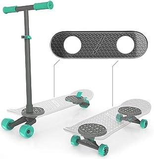 MORFBOARD 39015 Skateboard & Scooter Combo Set, for Boys, Girls, Kids, 2-in-1 Scoot Grey Deck/Mint Wheels