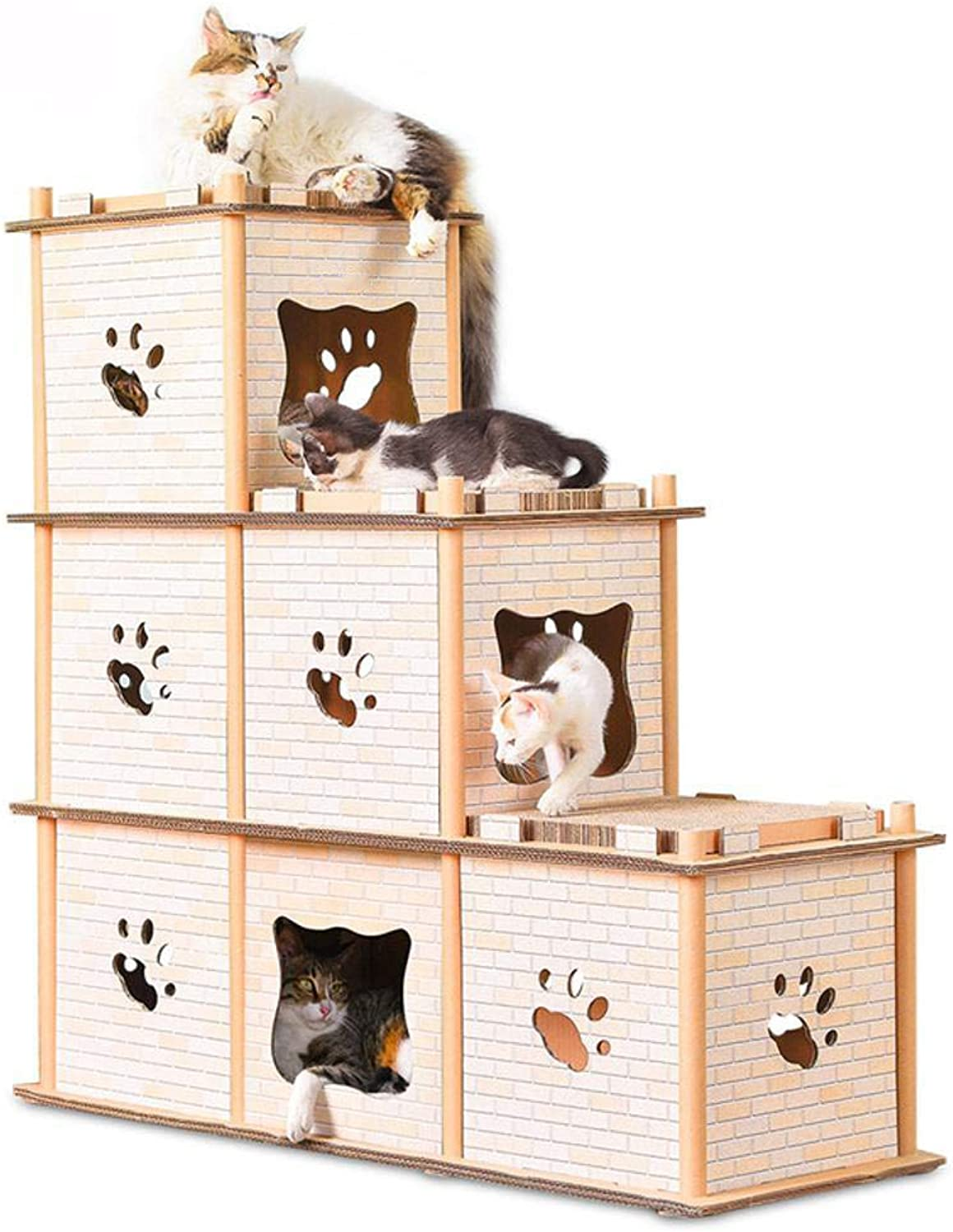 Hexiansheng Cat Climb Trees Corrugated threedimensional cat house kitty home Grinding claw roof multideformation 98  37  99cm