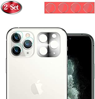 [2 Set] Camera Protector for iPhone 11 Pro/ 11 Pro Max, [Upgraded Version] Ultra-Thin 9H Anti-Scratch Drop Protection Bubble Free Back Camera Lens Film- Metal Frame+ Tempered Glass Protector (White)