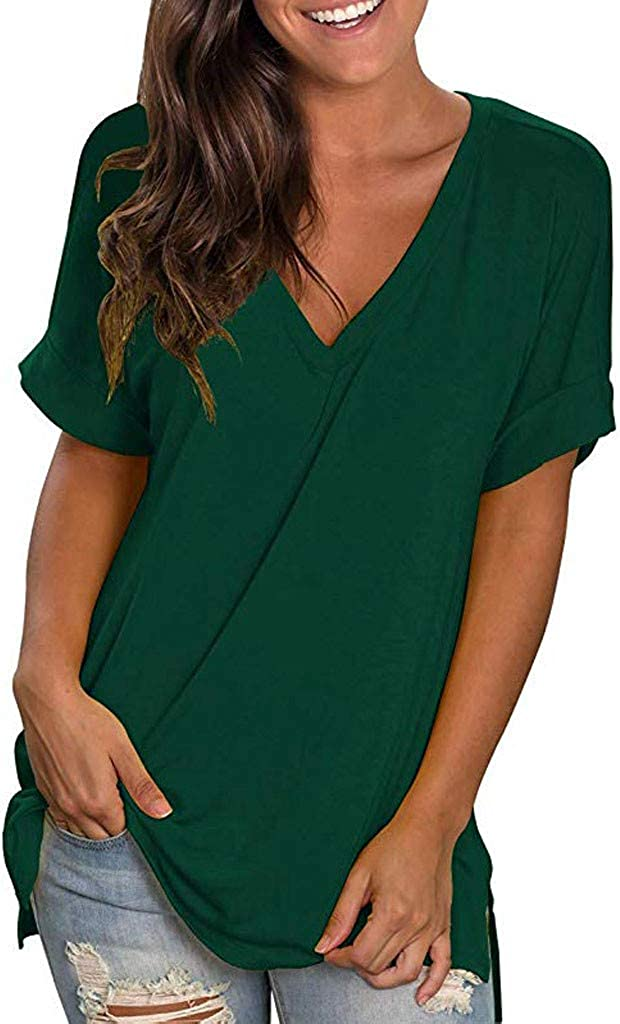 CapsA Womens Cash special price V Neck T Direct store Shirts Roll Solid Bl Up Short Loose Sleeve