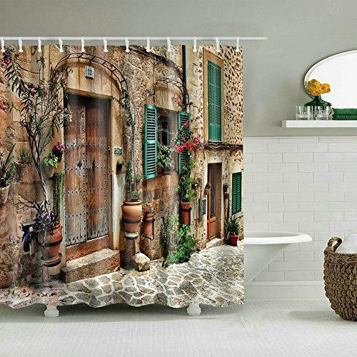 N / A Rideau de Douche de Style campagnard imperméable Polyester Porte de Ferme Rideau de Douche Famille Rideau de Douche décoratif imperméable et résistant à la moisissure A45 150x180cm