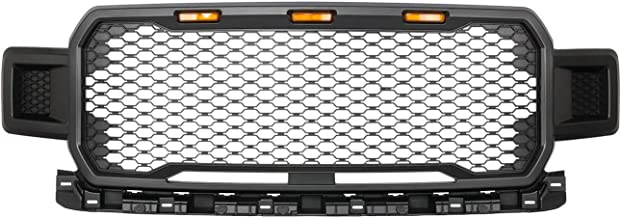 KARPAL Front Black Bumper Grille w/Amber LED Lamp Compatible With 2018-2019 Ford F150 Lead FOOT STYLE