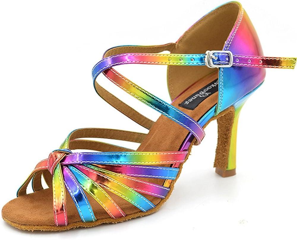 evkoodance Rainbow Color 2017 Leather 8.3cm Heel Ballroom Latin Dance Shoes Women Evkoo-074