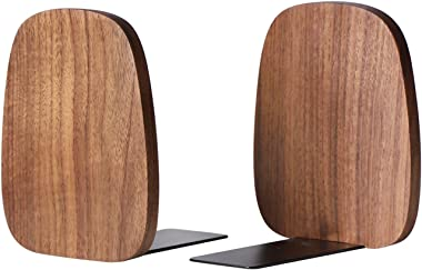 """Muso Wood Bookends Support for Shelves,Decorative Book Ends for Heavy Books/Office Files/Magazine 5.51"""" x 4.72"""" x 4.25""""(Walnu"""
