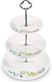 SMATIS 3 Tier Serving Stand | three Tiered Round Porcelain Cupcake Stand | Tiered Serving Tray | Tea Party Stand | Dessert Plate Fruit Bowl for Tea Time Wedding Baby Shower Buffet Server
