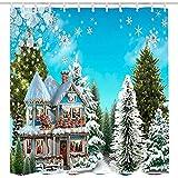 Weihnachts-Winter-Duschvorhang aus Stoff, weihnachtliches schneebedecktes Landhaus in Kiefernbaum-Wald, Duschvorhänge für die Weihnachtszeit, Badezimmer-Set in Blau & Grün, 183 cm lang