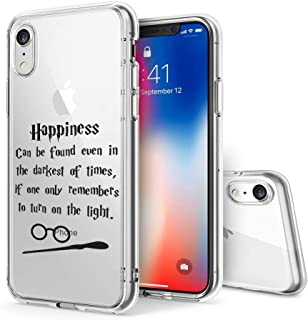 Litech™ Case for Apple iPhone XR (2018) [Flexfit] Premium Clear Scratch-Resistant Cute Creative Artistic Design [Wireless Charging Compatible] (Happiness Quote)