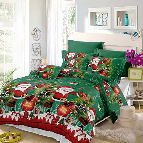 Green Xmas Duvet Cover Queen Size Happy Christmas Santa Claus Tree Gift Box Printed Quilt Cover Christmas Bedding Set New Year Gifts for Kids
