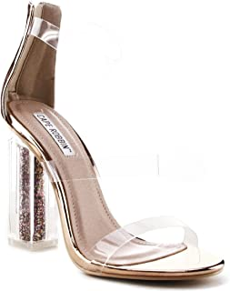 a77cf54829b9 CAPE ROBBIN Maria-7 Lucite Clear Perspex Glitter Block Heel Open Peep Toe  Sandal Shoe