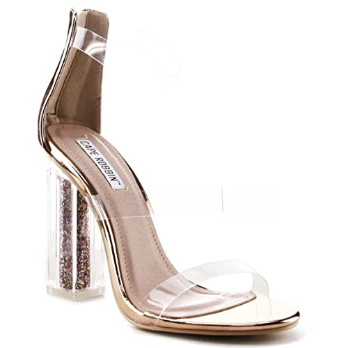 4297f0b8e03 Gold Clear Heels: Amazon.com