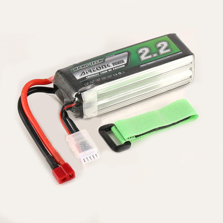 Comomingo Airtonk energia 14.8V 2200mAh 45C 4S 1P Lipo Batteria T Plug per RC Drone auto (Nero)