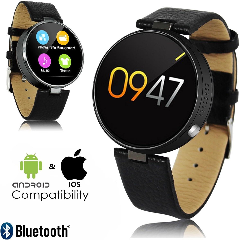 Indigi New 2017PREMIER rund Leder Smartwatch (Blautooth Sync + Herzfrequenz + Schrittzhler + Push-Benachrichtigungen)