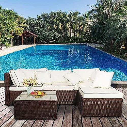 Ensemble de meubles de jardin en rotin pour terrasse ou terrasse en osier 4 places moderne Canapé d'angle Table basse pour loisirs (canapé noir et coussins blancs)