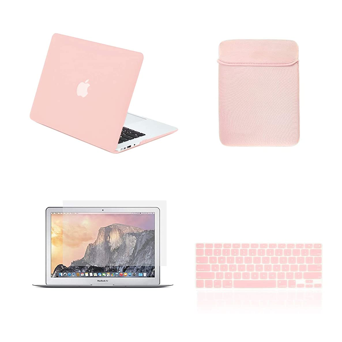 TOP CASE - 4 in 1 Bundle Hard Case, Keyboard Cover, Sleeve Bag, Screen Protector Compatible with MacBook Air 13