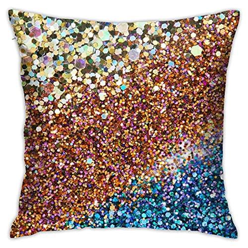 N\A Throw Pillow Cojín, Glitter Gold Blue Shinning Shiny Lentejuelas Decorativas Funda de Almohada Decorativa Cuadrada para Hombres/Mujeres