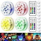 Luces Sumergibles, 4 Luz Piscina Impermeable, Colores Focos con Imán, Control Remoto RF, Ventosa