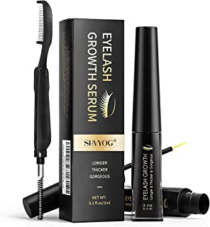 Eyelash Growth Serum, SHVYOG Eyelash and Eyebrow Enhancer to Grow Longer Fuller Thicker Lashes & Brows, Lash Boost for Rapid Lash Growth, Home Spa Eyelash Growth Treatment for Brow & Lash Growth