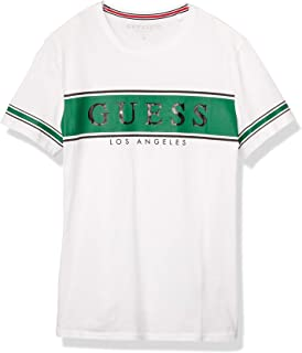 GUESS Men's Crew Neck Small Sleeve Banner T-Shirt