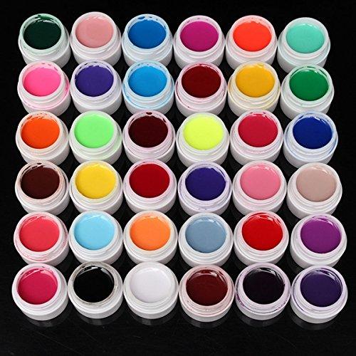 Bluelover 36 Pure Colors 5ml UV Gel Builder Nail Art DIY Décoration Manucure -36PCS